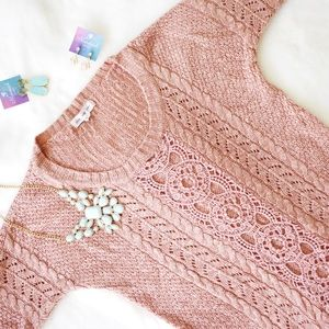 Pink Rose Crochet Lace Sweater